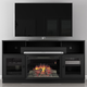 Furnitech 64 FT64CFB Electric Fireplace TV Stand (Matte Black)