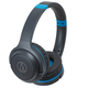 AudioTechnica ATH-S200BT Wireless On-Ear Headphones with Built-In Microphone and Controls (Gray/Blue)