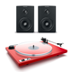 Dynaudio Xeo 2 Wireless Bookshelf Speakers and U-Turn Orbit Plus Turntable with Built-In Preamplifier (Red)