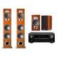 Denon AVR-X2500H 7.2-Channel 4K Ultra HD AV Receiver with Polk RTiA7 Floorstanding Speakers and RTIA3 Bookshelf Speakers (Cherry)