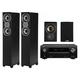 Denon AVR-X2500H 4K AV Receiver w/ Polk TSi300 Tower & TSi100 Bookshelf Speakers (Black)