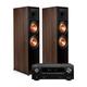 Klipsch RP-8000F Floorstanding Speakers - Pair (Walnut) with AVR-X2500H 7.2-Channel 4K Ultra HD AV Receiver