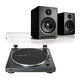 AudioTechnica AT-LP60X-BK Fully Automatic Belt-Drive Stereo Turntable (Black) with Audioengine A2+ Premium Powered Wireless Desktop Speakers - Pair