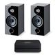 Focal Chora 806 Bookshelf Speakers - Pair (Black) with Bluesound Powernode 2i V2 Stereo Speaker System
