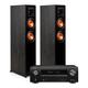 Klipsch RP-5000F Floor Standing Speakers (Ebony) with Denon AVR-X1600H 7.2 Channel AV Receiver