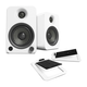 Kanto YU4 Powered Desktop Speakers (Matte White) with S4 Desktop Stands (White)