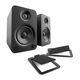 Kanto YU4 Powered Desktop Speakers (Matte Black) with S4 Desktop Stands (Black)