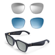 Bose Frames Alto M/L Bluetooth Audio Sunglasses with Integrated Microphone and Two Replacement Lenses (Mirrored Silver and Blue)