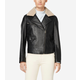 Leather Moto Jacket with Shearling Collar