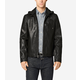 Washed Leather Hooded Moto Jacket