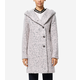 Signature Asymmetric Oversized Hooded Boucle Coat