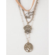 FULL TILT 3 Piece Suede Elephant/Lotus/Tree Layered Necklaces