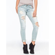MACHINE Destroyed Rolled Cuff Womens Skinny Jeans