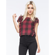 SEA GYPSIES Plaid Ruffle Womens Top