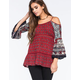 PATRONS OF PEACE Twin Print Cold Shoulder Womens Top