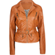 JOU JOU Belted Zip Sleeve Faux Leather Womens Jacket