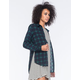 POLLY & ESTHER Challis Plaid Womens Boyfriend Shirt