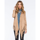 SAY WHAT Faux Suede Womens Fringe Kimono