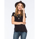 CHLOE K Lace Inset Womens Tee