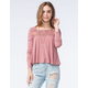 CHLOE & KATIE Womens Crochet Yoke Swing Top