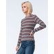 LIVING DOLL Womens Striped Ribbed Tee