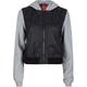LOST Forest Fleece Sleeve Faux Leather Womens Hooded Jacket
