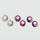 FULL TILT 3 Piece Cheetah/Lace/Rainbow Hoop Earrings