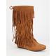 ADRIANA Mudd Womens Tall Fringe Moccasin Boots