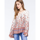 PATRONS OF PEACE Paisley Lace Up Womens Top