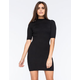 SAY WHAT Mock Neck Ribbed Knit Dress