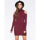 SAY WHAT Mock Neck Cold Shoulder Ribbed Knit Dress