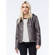 SEBBY COLLECTION Garment Dye Womens Faux Leather Jacket