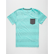 BLUE CROWN Broken Lines Mens Pocket Tee