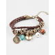 FULL TILT 3 Row Braided Faux Leather Charm Bracelet