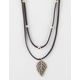 FULL TILT 2 Row Suede Leaf Necklace