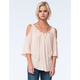 FULL TILT Keyhole Womens Peasant Top