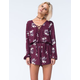 MIMI CHICA Womens Lace Up Floral Romper