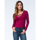 FULL TILT Womens Ribbed Lace Up Top