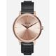 NIXON Kensington Leather Rose Gold & Black Watch