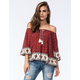 ZOE & ROSE Border Print Off The Shoulder Womens Top