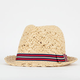 Stripe Ribbon Straw Fedora