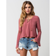 FULL TILT Womens Lace Up Bell Sleeve Top