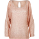 FULL TILT Sequin Womens Cold Shoulder Sweater
