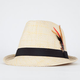 Feathered Straw Womens Fedora