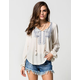 TAYLOR & SAGE Womens Embroidered Peasant Top