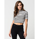 FULL TILT Womens Striped Mock Neck Top