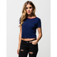 FULL TILT Solid Womens Ringer Tee