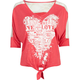 FULL TILT Love Lace Yoke Tie Front Womens Tee