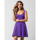 ANGIE Solid Knit Skater Dress
