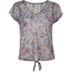 FULL TILT Floral Lace Back Womens Chiffon Tie Front Top
